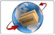 A globe with a parcel in front of it. It shows that we ship worldwide